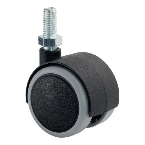 Roulette double en plastique D.roue 40 mm cap.charge 30 kg avec goujon fileté M1