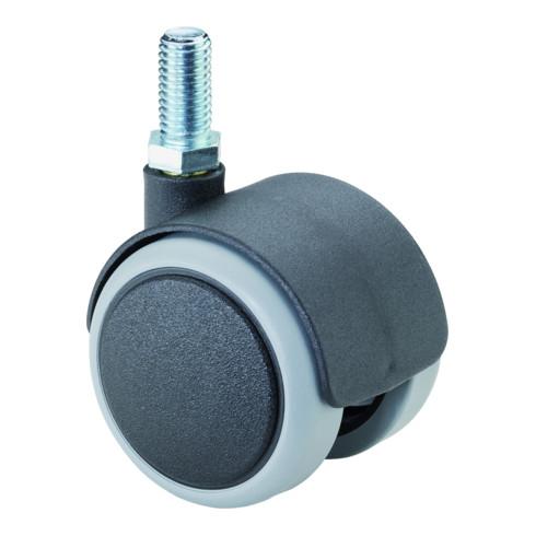 Roulette double en plastique D.roue 40 mm cap.charge 30 kg avec goujon fileté M8