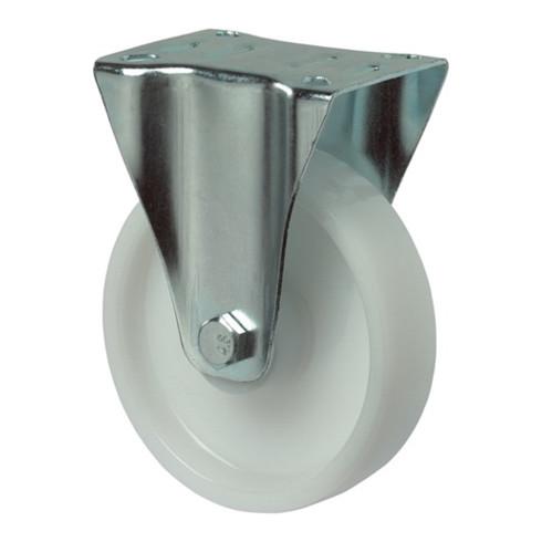 Roulette fixe D.roue 150 mm cap.charge 300 kg plastique plaque L135xl110 mm