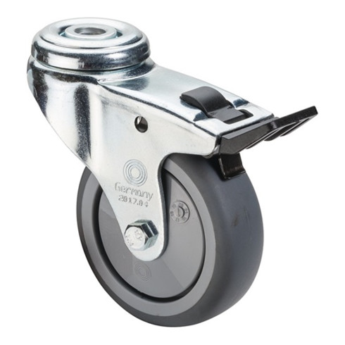 Roulette orientable avec frein D.roue 100 mm cap.charge 70 kg avec trou dorsal r