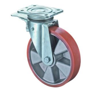 Roulette orientable avec frein D.roue 125 mm cap.charge 450 kg avec plaque à vis