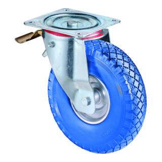 Roulette orientable avec frein D.roue 260 mm cap.charge 160 kg avec plaque à vis