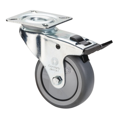 Roulette orientable avec frein D.roue 75 mm cap.charge 60 kg avec plaque à visse