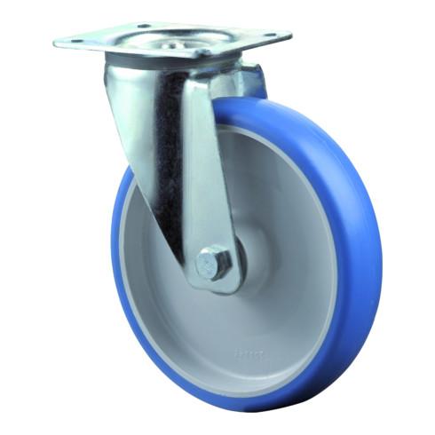 Roulette pivotante D.roue 150 mm cap.charge 200 kg polyuréthane plaque L135xl110