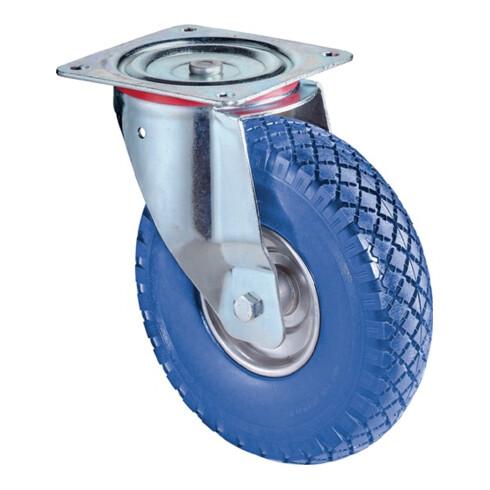 Roulette pivotante D.roue 200 mm cap.charge 75 kg avec plaque de fixation polyur
