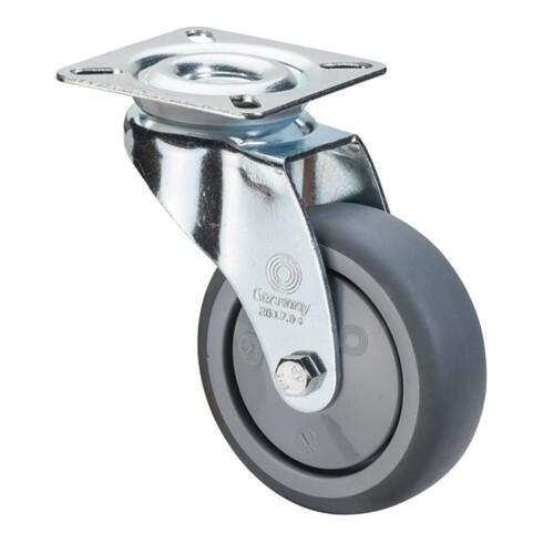 Roulette pivotante D.roue 75 mm cap.charge 60 kg avec plaque de fixation caoutch