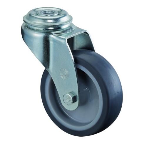 Roulette pivotante D.roue 75 mm cap.charge 60 kg avec trou dorsal caoutchouc ble