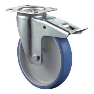 Roulette pivotante D.roue 80 mm cap.charge 125 kg avec blocage total polyuréthan
