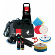 Rupes Exzenter-Poliermaschine LHR 12E, LUX mit 2 Schwamm, 2 Wolle Pad, 2 Polituren, Starterset Schleifen, 1 Soft Interface Pad, 3 Mf Tuecher, 1 Schuerze, Kabelklemme, BF Tasche