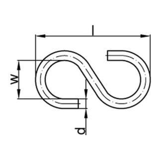 S-Haken Art. 45 Stahl 40 mm galvanisch verzinkt gal Zn S