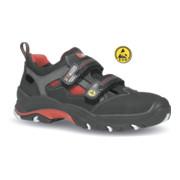 Sandale de sécurité Cult T. 43 noir/rouge cuir nubuck S1P SRC ESD EN 20345