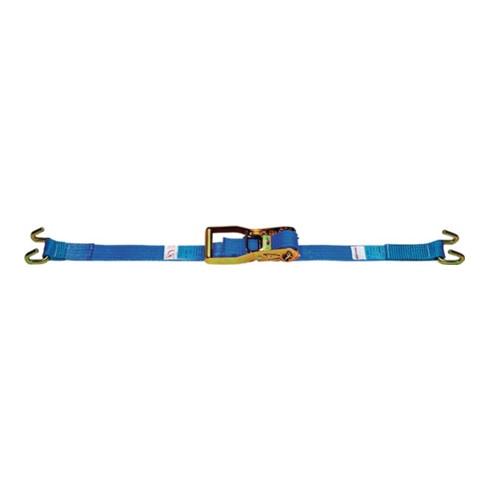Sangle d'amarrage DIN EN 12195-2 L. 10 m l. 50 mm avec cliquet + crochets à cadr
