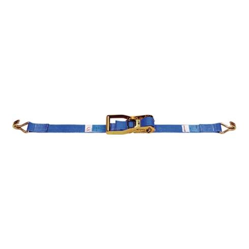 Sangle d'amarrage DIN EN 12195-2 L. 6 m l. 50 mm avec rochet + crochets pointu L
