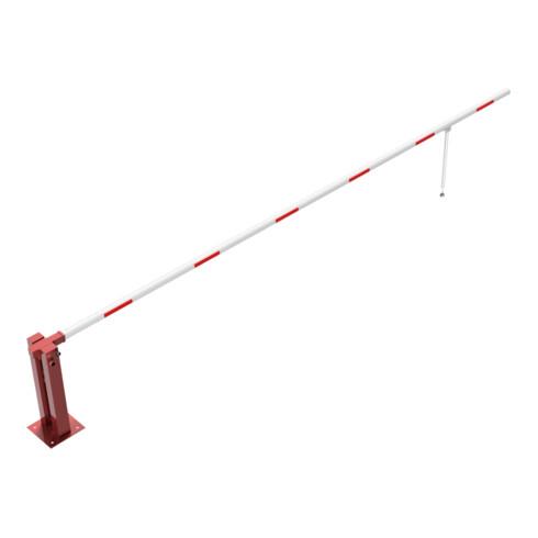 Schake Wegeschranken 6m + Pendelstütze, Bodenplatte zum Aufdübeln + Dreikantverschluß Stahlkonstruktion 120x80mm