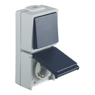 Schalter-/Steckdose Aus-/Wechsel 230V 10/16A IP54 hellgrau/stahlblau Aufputz