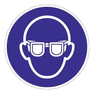 Schild Augenschutz benutzen D.200mm Ku. blau/weiß ASR A1.3 DIN EN ISO 7010