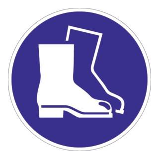 Schild Fußschutz benutzen D.200mm Kunststoff blau/weiß ASR A1.3 DIN EN ISO 7010
