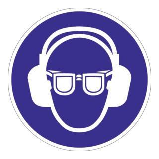 Schild Gehör-Augenschutz benutzen D.200mm Ku. blau/weiß praxisbewährt
