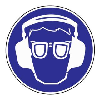 Schild Gehör-/Augenschutz benutzen D.200mm Kunststoff blau/weiß