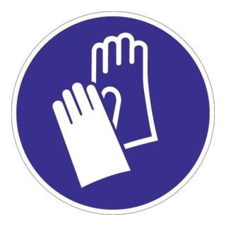 Schild Handschutz benutzen D.200mm Ku. blau/weiß ASR A1.3 DIN EN ISO 7010