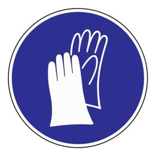 Schild Handschutz benutzen D.200mm Kunststoff blau/weiß