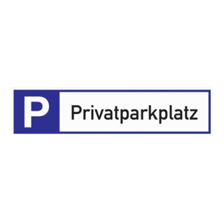 Schild Privatparkplatz 460x110x2mm Aluminium weiß/blau/schwarz