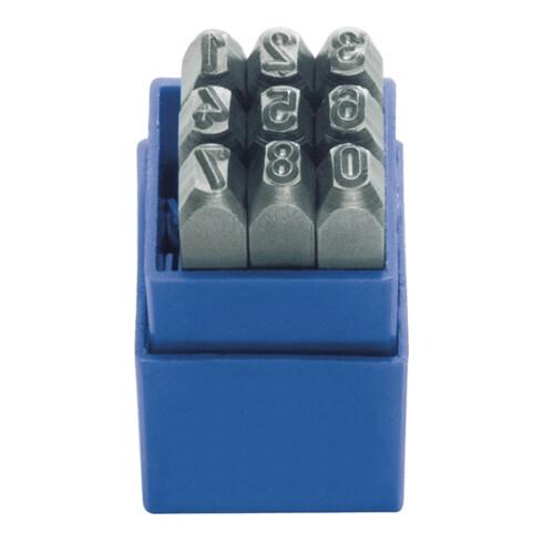 Schlagzahlensatz 328 9-tlg.Zahlen 0-9 Schrift-H.4mm in Ku.-Box KUKKO