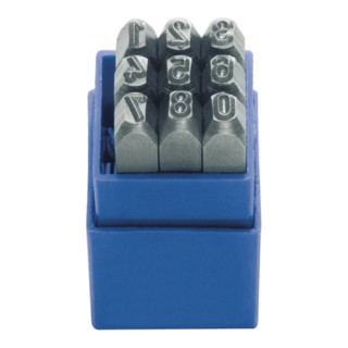 Schlagzahlensatz 9tlg.Schrift-H.6mm 0-9 Gravur 58-60HRc i.Ku.-Box