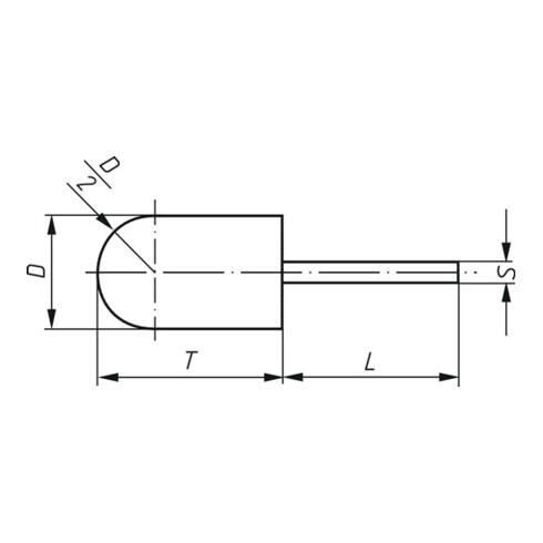 Schleifkappenträger GTWR D16xH26mm Schaft-D.6mm WR-Walzenrund LUKAS