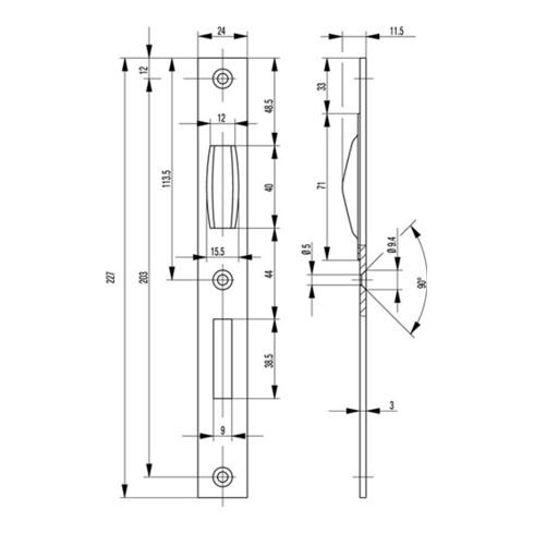 Schließblech Flachschließblech Stulp 24mm ktg.Stahl NiSi