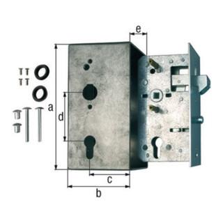 Schlosskasten f.Schiebetore DIN L/R Maß A40xB95xC173mm Dornm.60mm Entf.72mm GAH