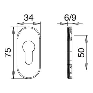 Schlüsselrosette 0811 VA EST Schildstärke 9mm PZ ov.