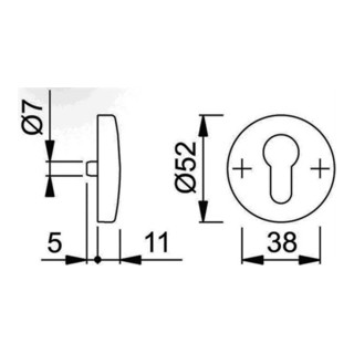 Schlüsselrosette 19S/E19S Alu. F1 Schildstärke 11mm PZ rd.