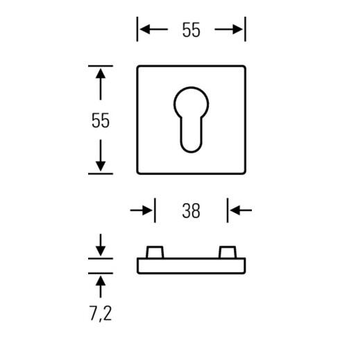 Schlüsselrosette-Paar 12 1704 VA 6204 Schildst.7,2mm PZ quad.FSB