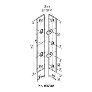 Schnegel Flach-Bändersicherung L.140mm B.22mm S.3mm STA verz. limbafarbig
