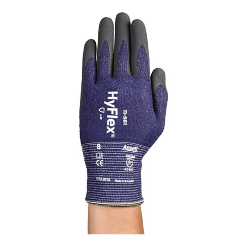 Schnittschutzhandschuhe HyFlex® 11-561 Gr.9 grau/blau EN 388 PSA II 12 PA