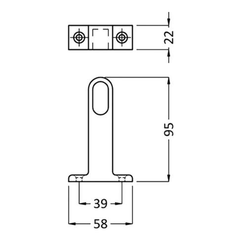 Schrankrohrlager 1192 Alu-Profil silberf.Dm.30x14 HERMETA