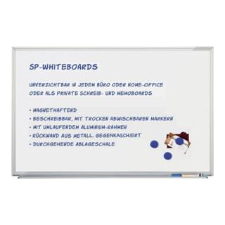 Schreibtafel B.600xH.450mm weiß magnetisch mit Aluminiumrahmen