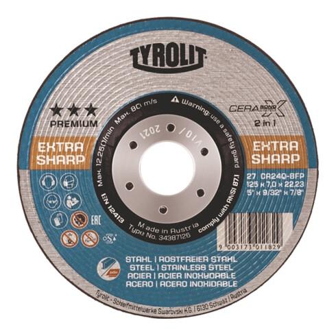 Schruppscheibe CERABOND X D178xS7mm gekr.INOX/Stahl Bohr.22,23mm TYROLIT