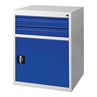 Schubladenschrank BK 600 H800xB600xT600mm grau/blau 2 Schubl.Einfachauszug 1Tür