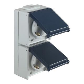 Schuko-Steckdose IP54 2fach 50HZ 10/16A senkrecht m.Klappdeckel