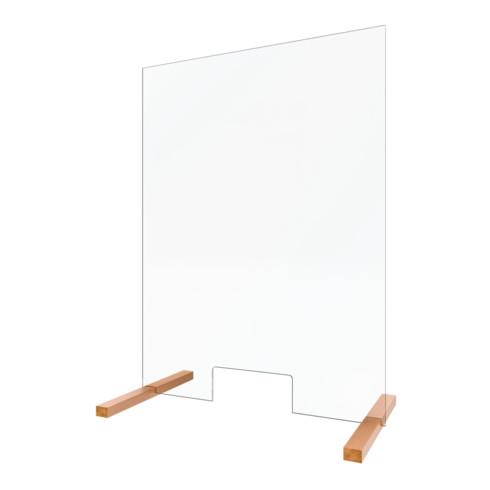 Schulte Hygiene- und Hustenschutz, 5 mm Sicherheitsglas (ESG), transparent, 750 x 475 mm, mit praktischer Durchreiche