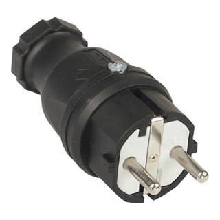 Schutzkontaktgummistecker IP44 10-/16A 250V Gummi m.PA-Einsatz 2polig schwarz