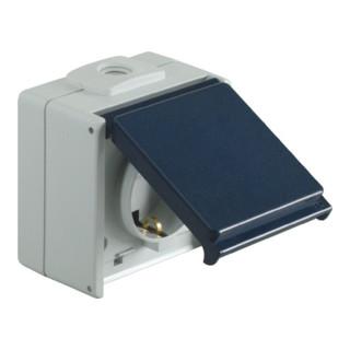 Schutzkontaktsteckdose IP54 10-/16 A 250/50V/Hz Aufputz 1-fach hellgrau/stahlbl.