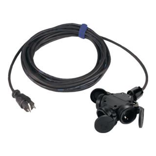 Schutzkontaktverlängerung Gummistecker/3-Wege-Kupplung L.5,0m H07RN-F 3x1,5mm2