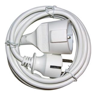 Schutzkontaktverlängerung Schukostecker/Kupplung L.5m H05VV-F 3x1,5mm2 weiß