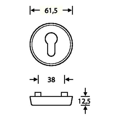 Schutzrosettenpaar 73 7395 00 Alu.0105 rd.o.ZA S.16,5mm