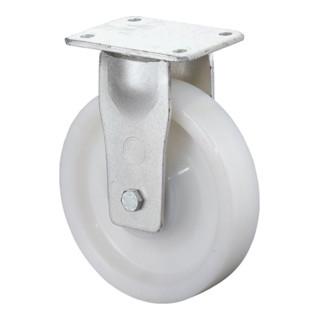 Schwerlast-Bockrolle D.200mm Trgf.1200kg Ku.-Rad naturf.Platte 138x110mm
