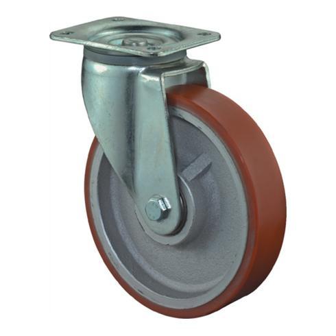 Schwerlast-Lenkrolle D.200mm Breite 50mm Polyurethanrad Platte 135x110mm