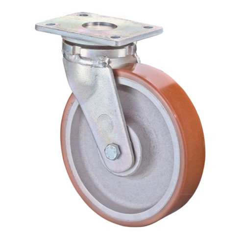 Schwerlast-Lenkrolle D.400mm Trgf.2500kg Guß-Polyurethan Platte L200xB160mm